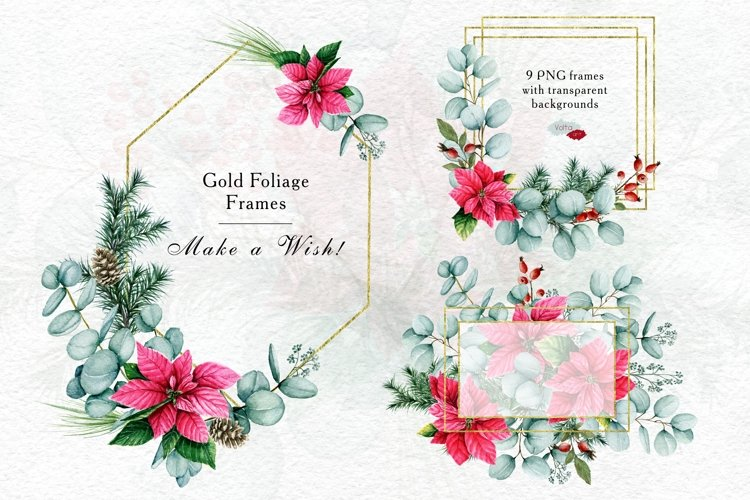 Gold Foliage Christmas frames, Watercolor Winter PNG clipart example image 1