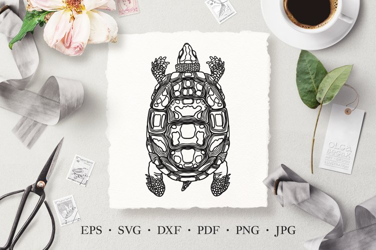 Turtle Vector Line Art Illustration SVG, Laser Cut Template example image 1