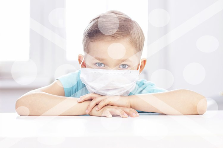 concept of coronavirus infection. A boy in a medical mask is example image 1