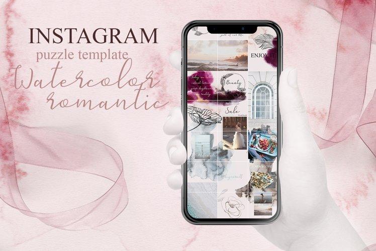 Instagram puzzle template-Watercolor romantic example image 1