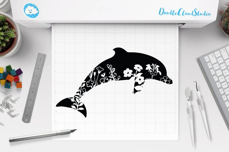 Floral Dolphin SVG Cut Files, Floral Dolphin Clipart.