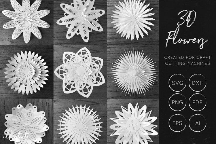 3D Flower SVG Cut Files - Flower SVG - Layered Flower DXF - Free Design of The Week Font
