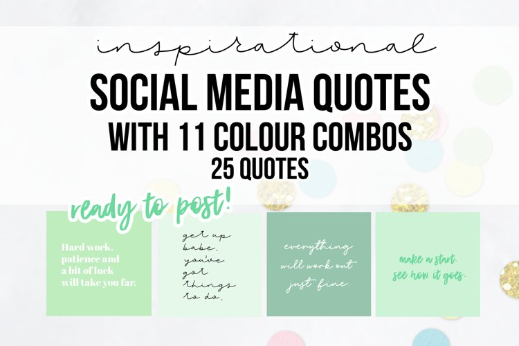 25 x Mint Inspirational Social Media Quotes Pack example image 1