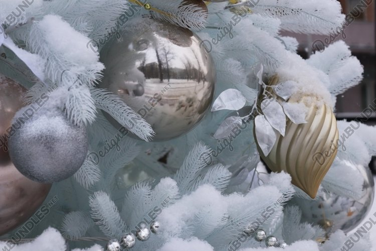 White Christmas Tree in Snow Photo Background example image 1