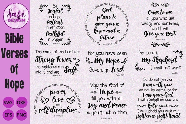 Bible Verses of Hope Cut File Bundle- SVG DXF EPS PNG example image 1