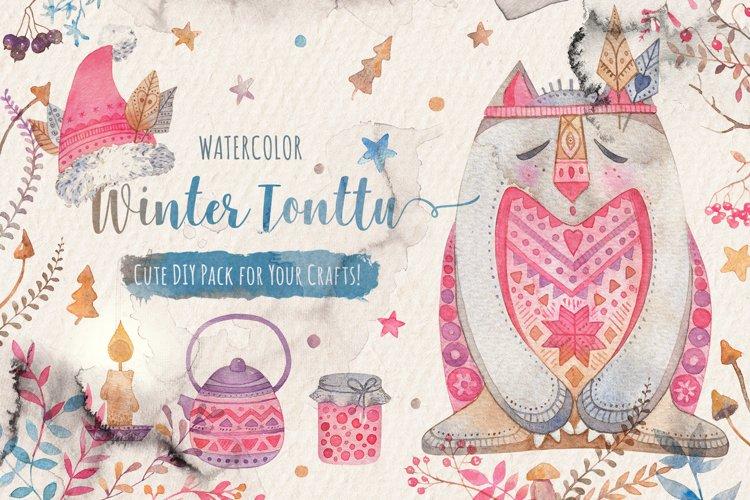 Winter Tonttu Watercolor DIY Pack example image 1