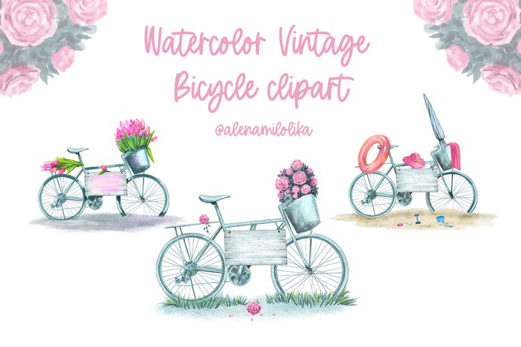 Watercolor clipart vintage bicycles with flowers