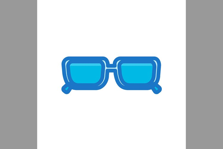 eye glass, geek symbol blue color icon, Vector Illustration example image 1