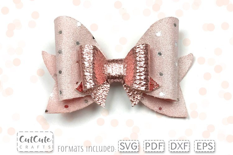 Rose Gold Double Hair Bow SVG cut files, Hairbow template