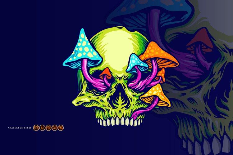 Trippy Mushroom Skull Logo Svg Graphic Illustrations