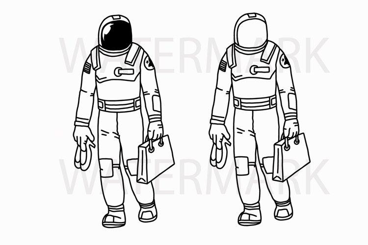 Shopping Astronaut holding shopping bag and shoes - SVG/JPG/PNG Hand Drawing example image 1