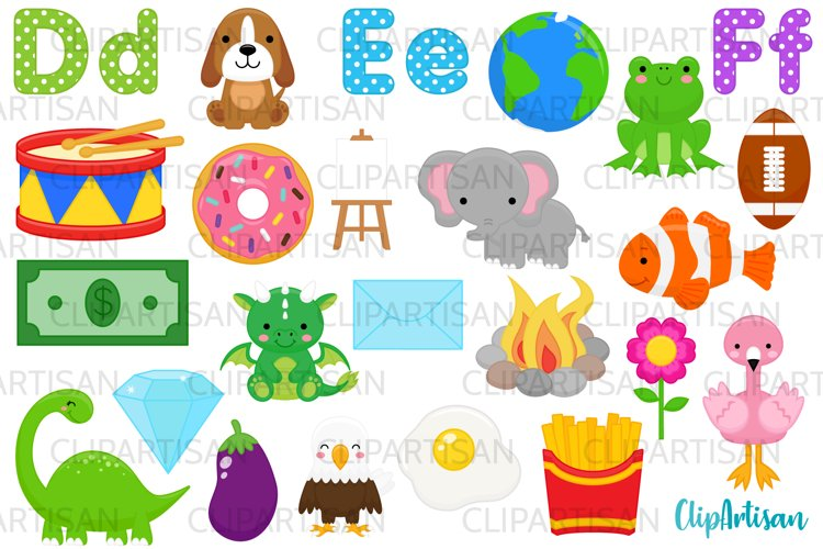 Alphabet Clip Art, ABC Illustrations, A to Z, DEF Letters example image 1