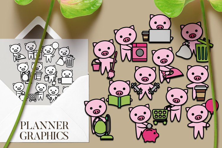 Pig Planner Activities Graphics Illustration