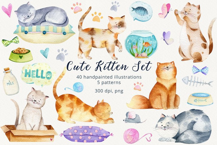 Watercolor Cats and Kittens Set.