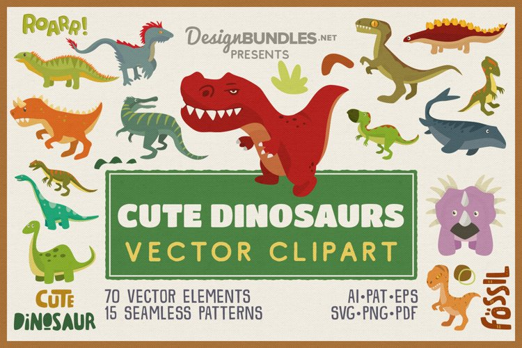 Cute Dinosaur Vector Clipart and Seamless Pattern