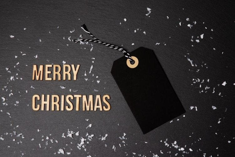 Merry Christmas black background and price label. example image 1