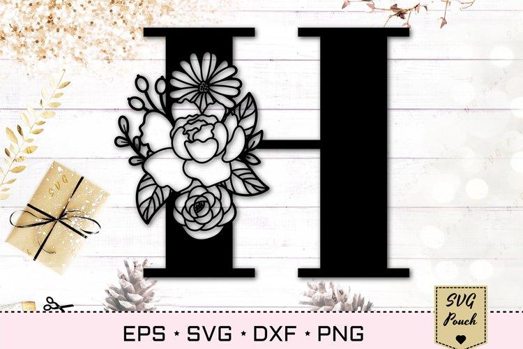 Floral letter H svg, Flower H monogram font initial SVG example image 1