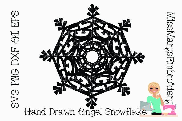 Angel Word Snowflake SVG | Angel SVG | Snowflake SVG | example image 1