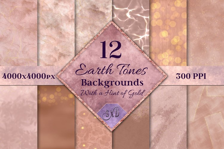 Earth Tones Backgrounds with a Hint of Gold - 12 Image Set