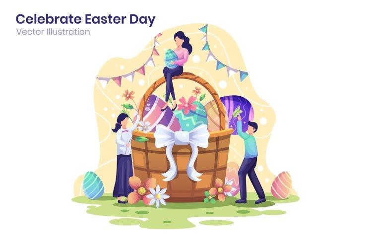 Happy Easter Day Celebration concept flat illustration example image 1