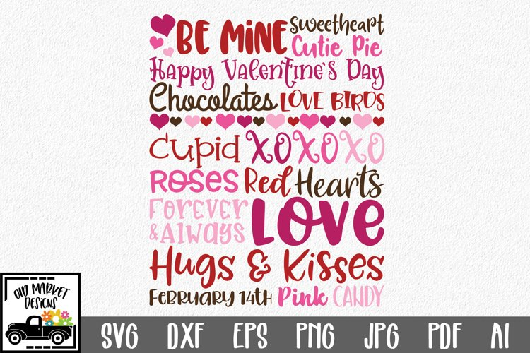 Valentine's Day Subway Art SVG Cut File example image 1