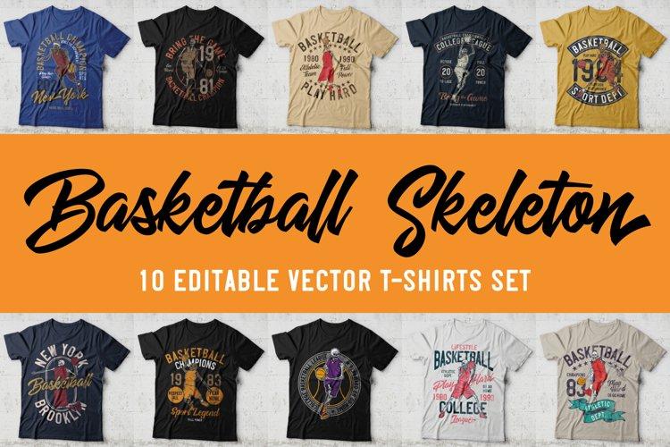 Basketball skeleton 10 t-shirts set example image 1