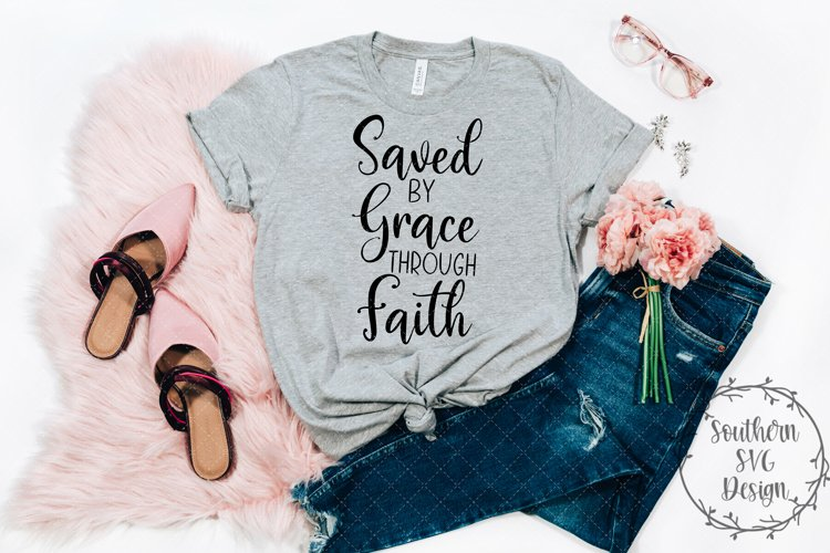 Saved by Grace through Faith SVG file-Cut File example image 1