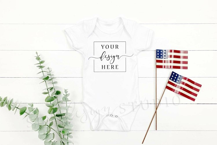 2 Image 4th of July Themed Onesie Mockup American Flag Mock