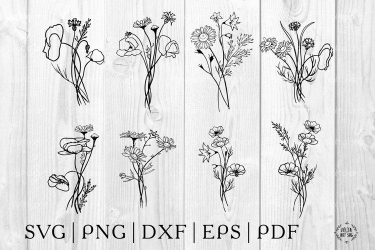 Wildflower bouquets svg. Floral arrangements. Flowers bundle