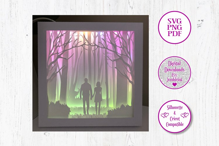 Couple in The Woods - 3D Paper Cut Template Light Box example image 1