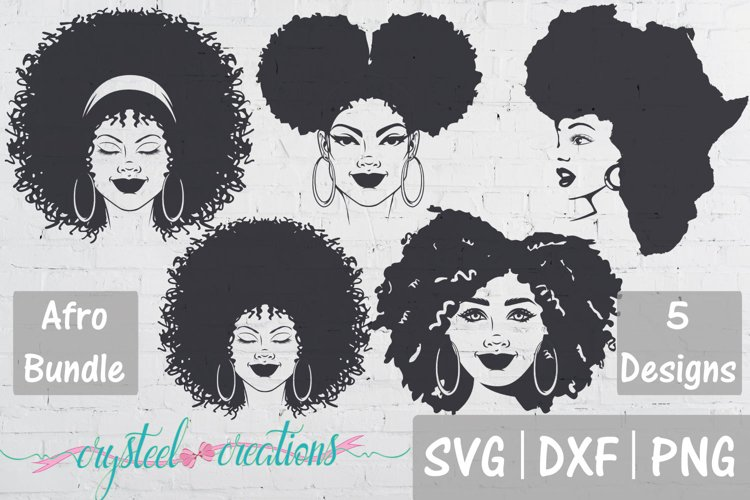 Afro Bundle 5 Different files SVG, DXF, PNG, Afro svg example image 1