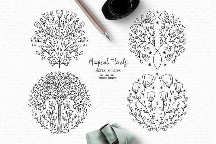 Floral digital stamps | Vintage flower clipart example image 1
