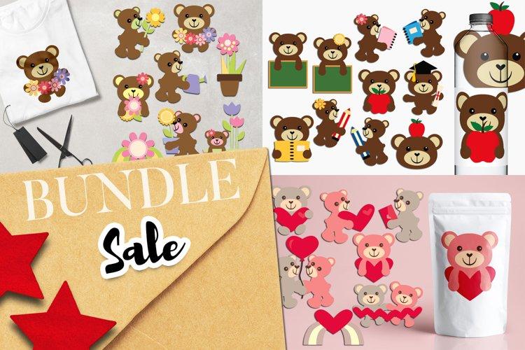 Teddy bear illustrations clip art bundle