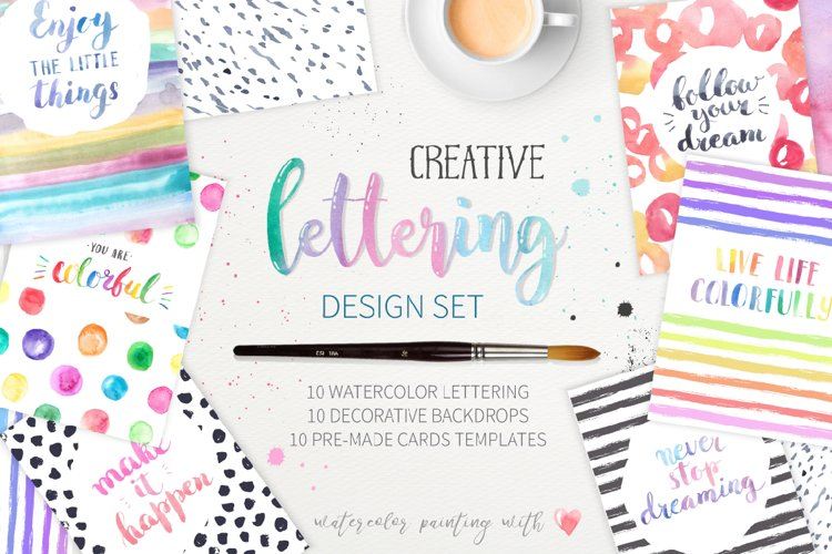 Watercolor Lettering Creative Set example image 1