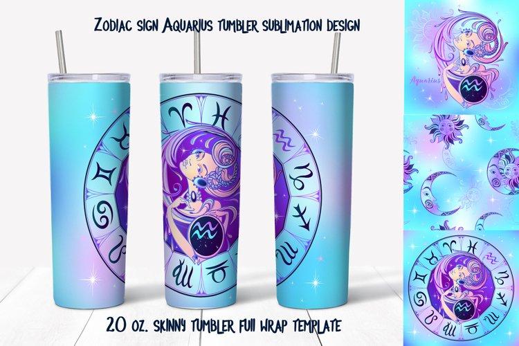 Design of zodiac sign Aquarius. Skinny tumbler wrap design. example image 1