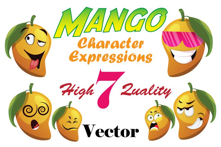 7X Mango Character Expressions Illustrations. example image 1