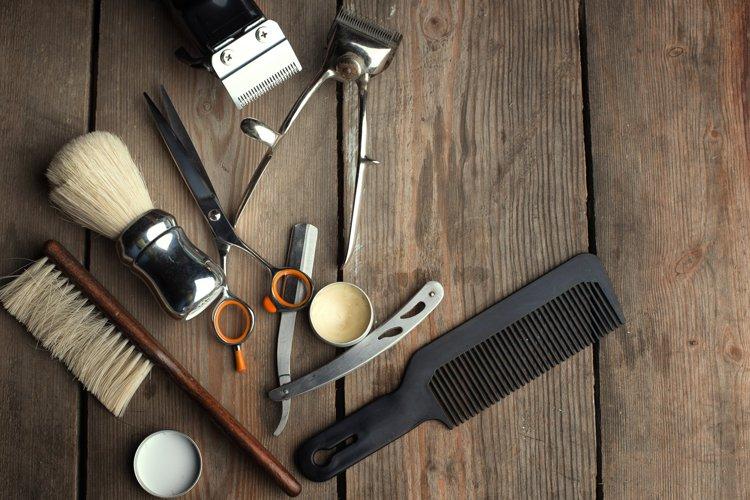 Barber shop wooden backgrounds JPG set example 3