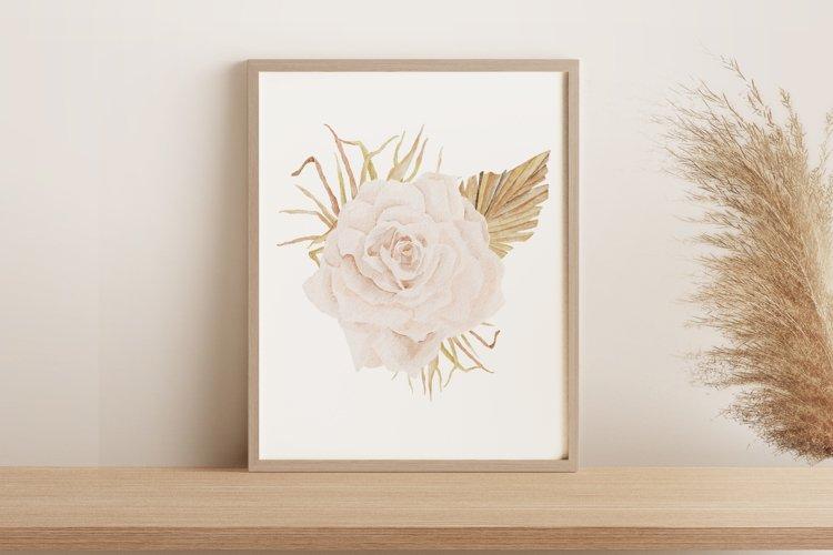 Boho rose printable, Watercolor rose wall print example image 1