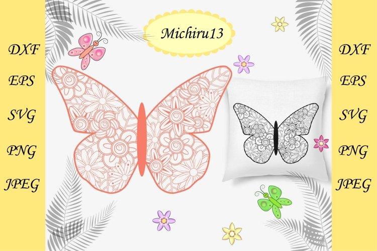 Flower mandala butterfly. Decorative element