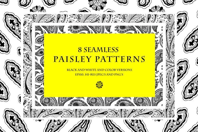 8 seamless paisley patterns example image 1