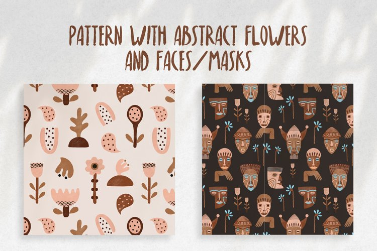 Pattern with abstract flowers, faces, masks example image 1