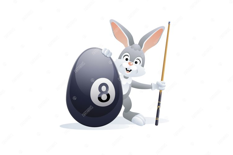 Easter sports greeting card. Cute Rabbit with Billiard Egg. example image 1