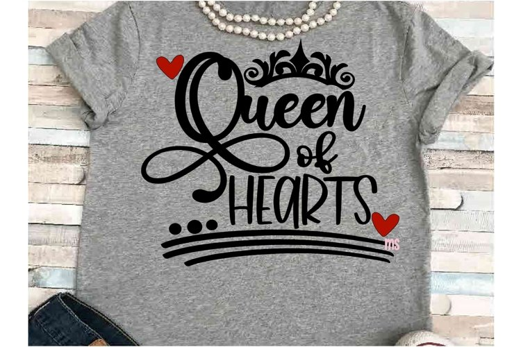Queen of hearts svg JPEG Silhouette Cricut crown valentine example image 1