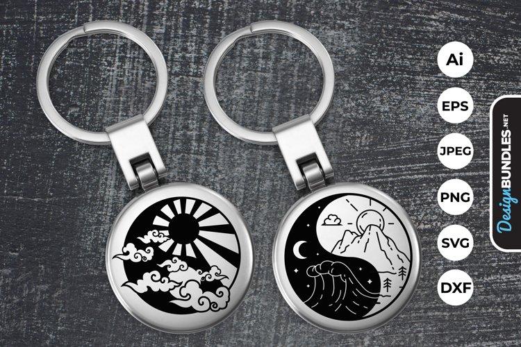 Yin Yang Sun and Moon Keychain example image 1