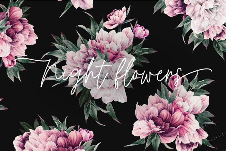 Night flowers, Seamless flower pattern