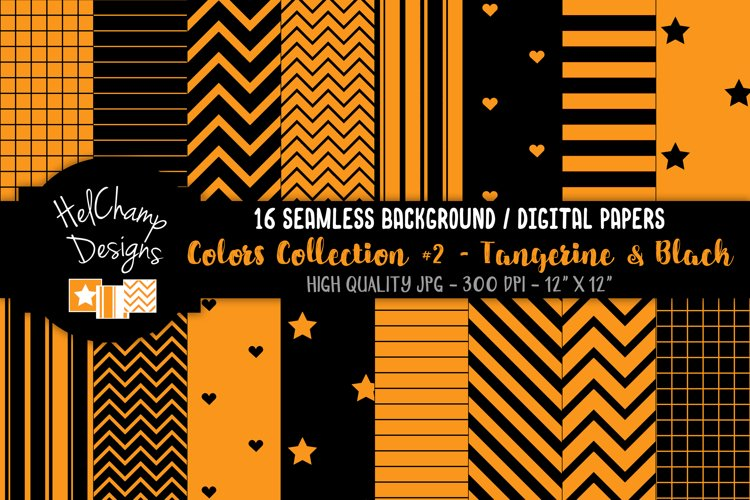 16 seamless Digital Papers - Tangerine and Black - HC156