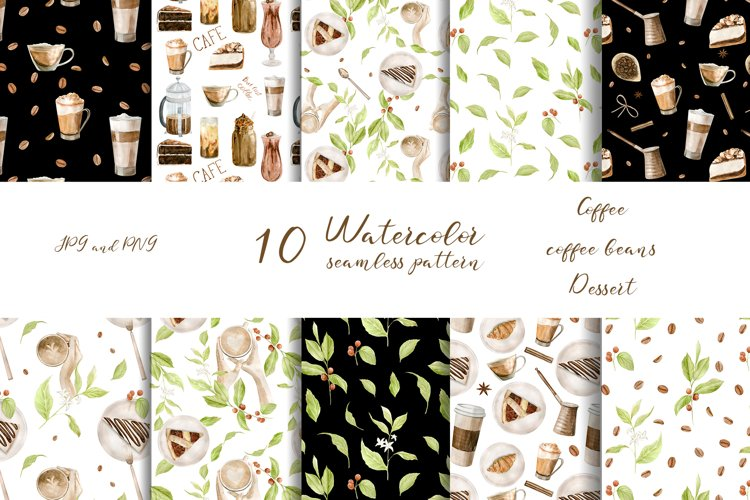 Watercolor Coffee seamless pattern. example image 1