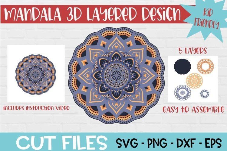 Mandala 3D Layered SVG Design example image 1