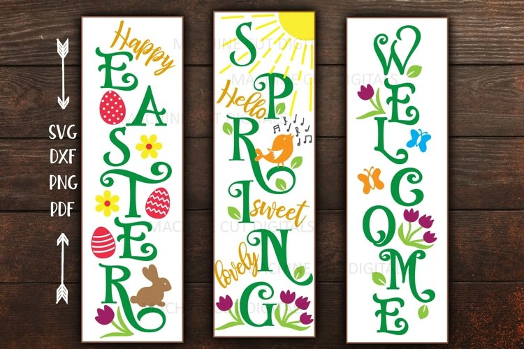 Spring set Happy Easter Welcome Hello Spring signs svg cut example image 1