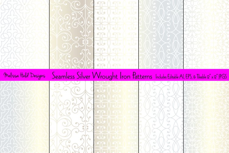 Seamless Silver Wrought Iron Patterns example image 1